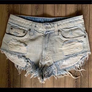 Light denim High rise jean shorts.